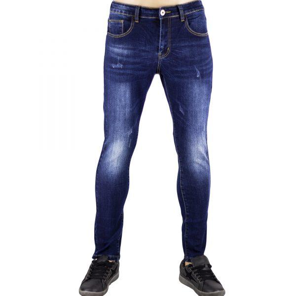 Jeans Uomo Pantaloni Blu Scuro Denim Slim Elasticizzati Morbidi SlimFit Aderenti 1