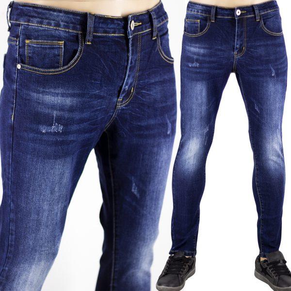 Jeans Uomo Pantaloni Blu Scuro Denim Slim Elasticizzati Morbidi SlimFit Aderenti