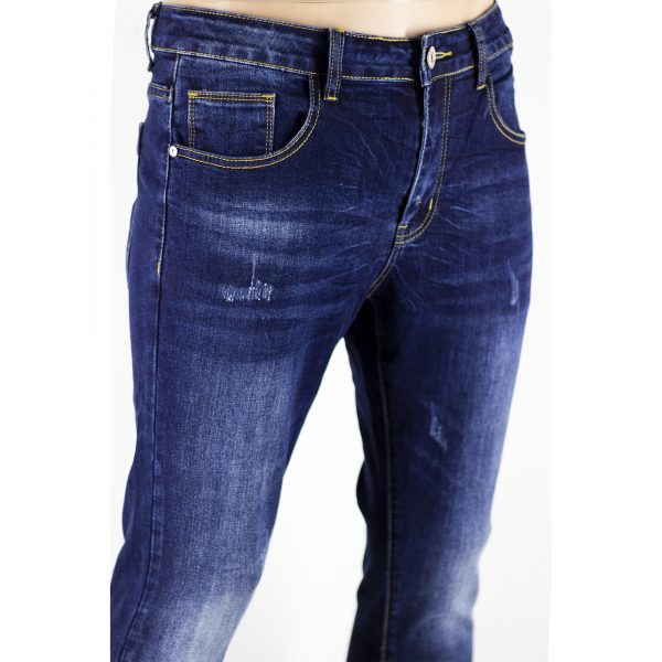 Jeans Uomo Pantaloni Blu Scuro Denim Slim Elasticizzati Morbidi SlimFit Aderenti 2