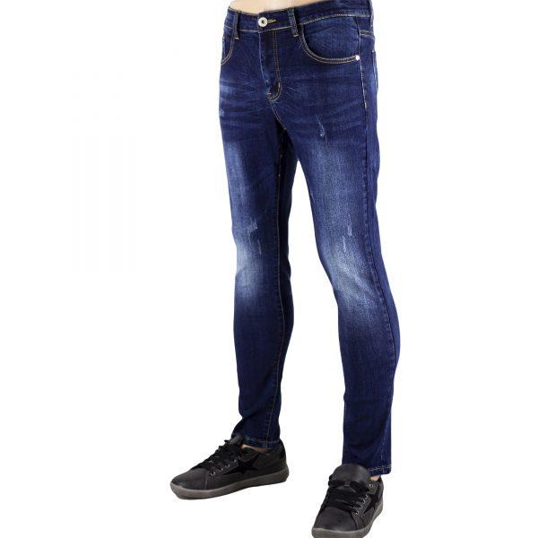 Jeans Uomo Pantaloni Blu Scuro Denim Slim Elasticizzati Morbidi SlimFit Aderenti 3