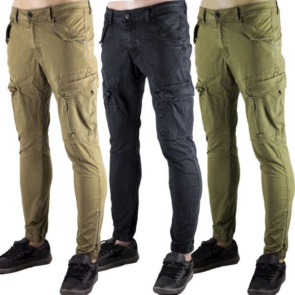 Pantaloni Cargo Multitasche Uomo Tasche Laterali Nero Slim Elastici Polsino