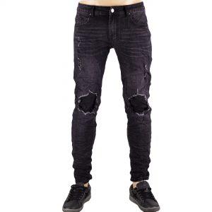 Pantaloni Uomo Elastici Jeans Slim Fit Strappi Ginocchio Skinny Aderenti Nero
