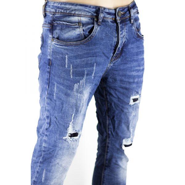 Pantaloni Slim Elastici Jeans Uomo Strappi Gambe Toppe Sfilacciato Blu Chiaro