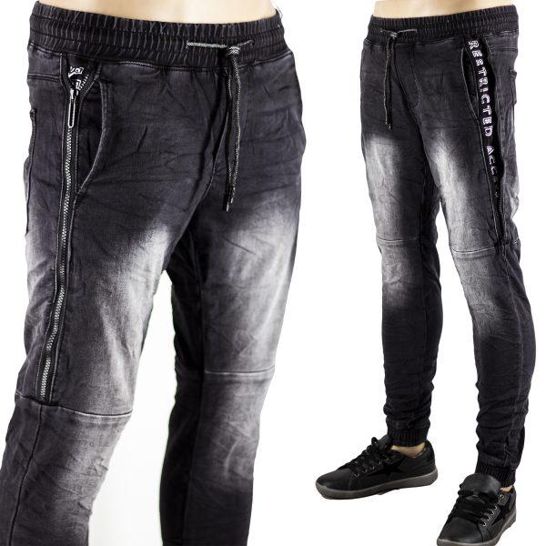 Jeans Uomo Slim Fit Pantaloni con Molla Laccio e Polsino Skinny Aderenti Nero