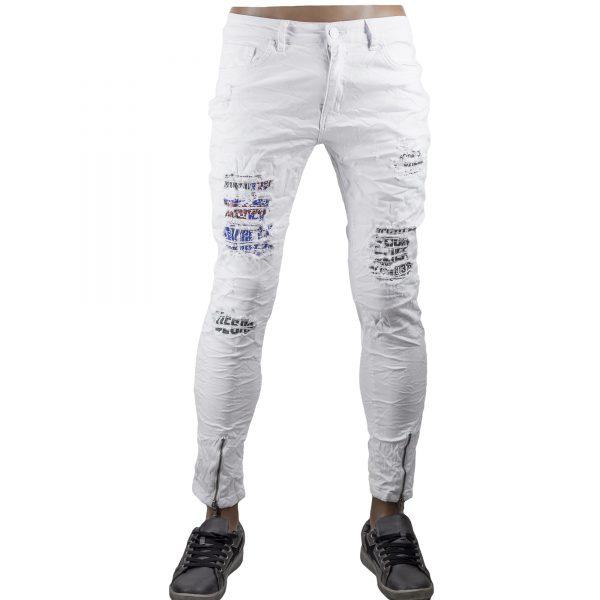 Pantaloni Uomo Jeans Bianco Slim Skinny Strappi Elastici Aderenti Stretch Bikers