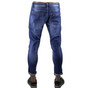 Pantalone Uomo Jeans Denim Aderenti Morbido Slim Fit Elasticizzati Blu Scuro Zip