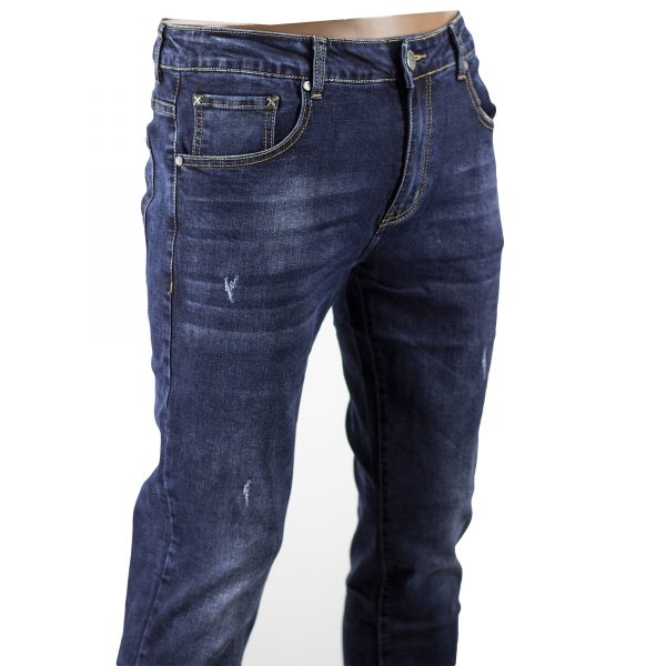 Pantalone Jeans Uomo Morbidi Slim Fit Elasticizzati Blu Scuro Denim Aderenti