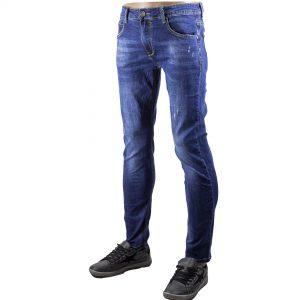 Jeans Uomo Pantaloni Morbidi Elasticizzati Blu Scuro Denim Slim Fit Aderenti