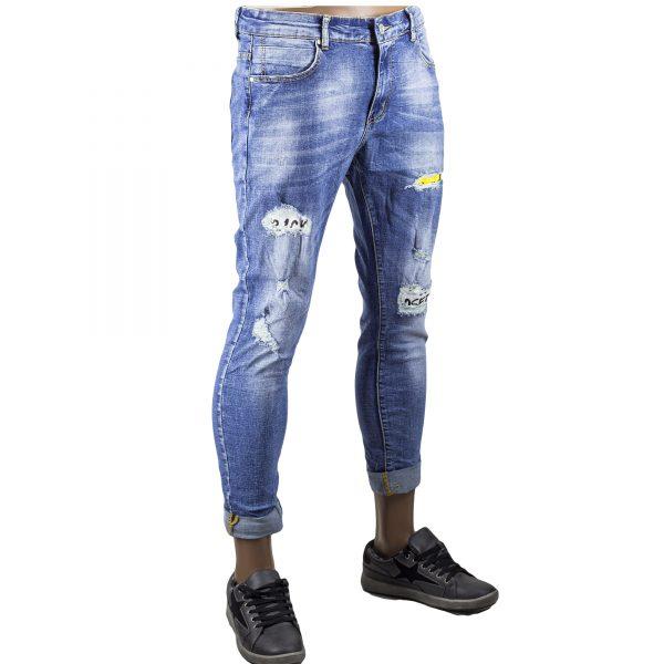 Jeans Uomo Pantaloni Strappati Slim Fit Elasticizzati Skinny Toppe Novità Blu