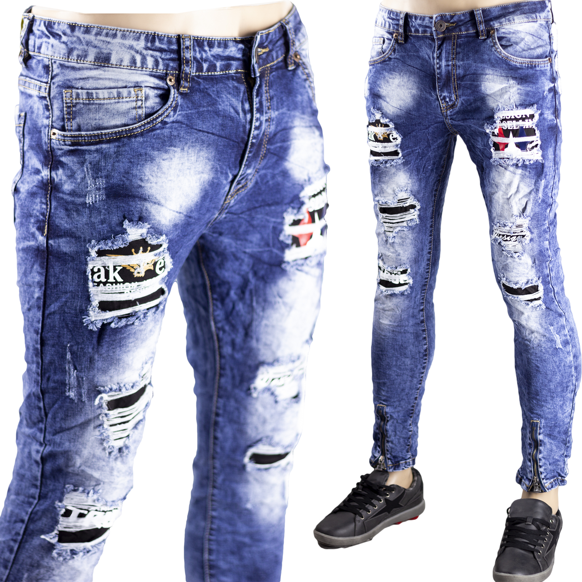 novelty Extremely important land  Jeans Strappati Slim Fit Pantaloni Uomo Aderenti Elastici Toppe Sfilacciato  Blu - RUSH Store