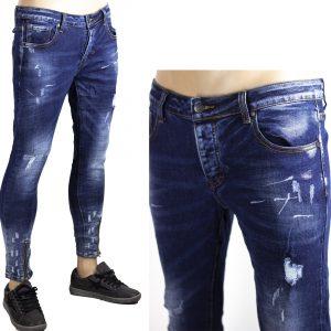 Pantaloni Uomo Bicolore Jeans Slim Fit Strappati Aderenti Elastici Toppe Blu