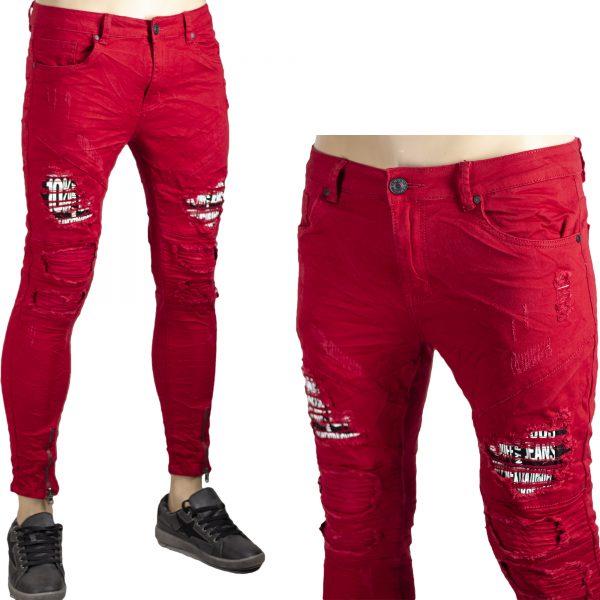 Pantaloni Jeans Elastici Rosso Uomo Slim Strappi Stretti Skinny Aderenti Zip