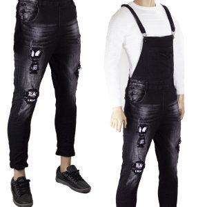 Salopette Uomo Jeans Pantaloni Slim Strappi Elasticizzati Comoda Aderente Nero