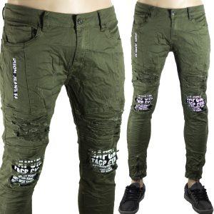 Pantaloni Skinny Aderenti Slim Fit Jeans Uomo Strappati Elastici Strappi Verde