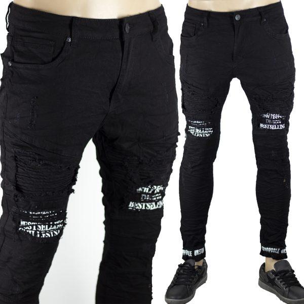Pantaloni Skinny Elasticizzati Aderenti Uomo Jeans Slim Fit Strappati Toppe Nero