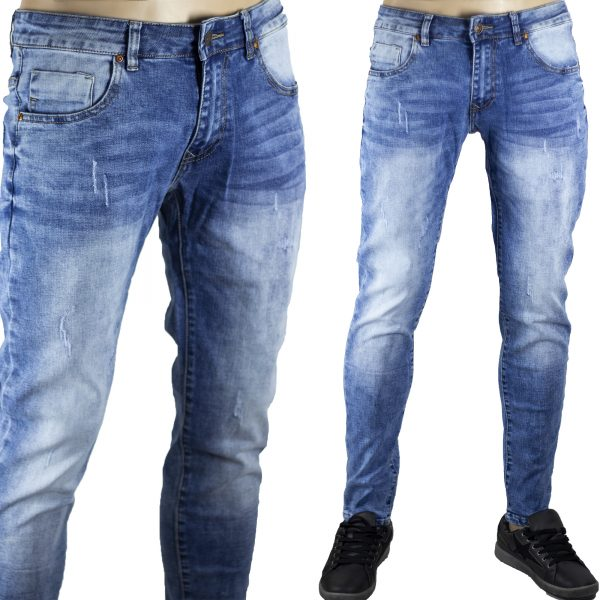 Pantaloni Elastici Morbidi Uomo Jeans Blu Chiaro Denim Slim Fit Segni Aderenti