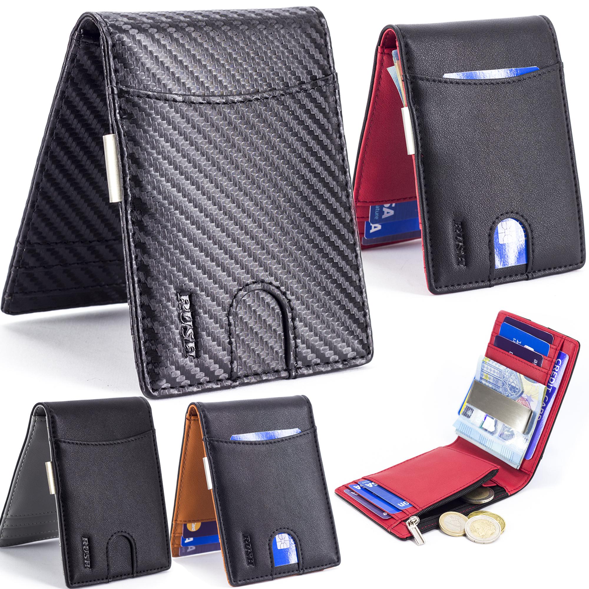 vendita calda online 1500a 2257b Portafoglio Uomo Fermasoldi Porta Carte di Credito Slim con Zip Piccolo  RFID Sottile
