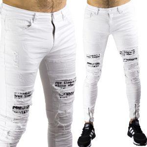 Pantaloni Uomo Jeans Bianchi Slim Strappati Elasticizzati Strappati Toppe Bianco