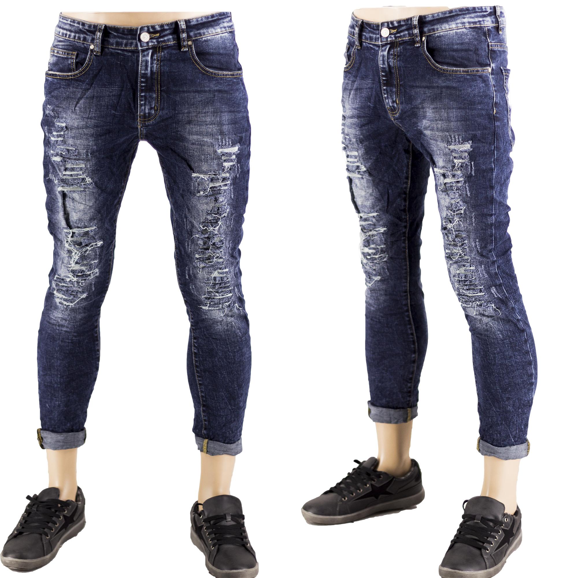 San Francisco 75f5d ea49b Jeans Uomo Slim Strappati Elasticizzati Pantaloni Strappi Gambe Sfilacciato  Blu